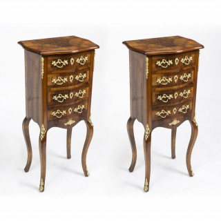 Antique Pair French Burr Walnut Bedside Cabinets c1870