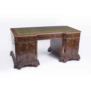 Antique Chippendale Revival Mahogany Pedestal Desk c.1880