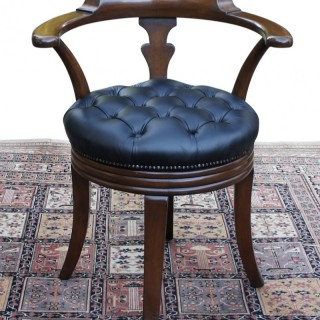 Antique Mahogany and Leather Swivel Seat Desk Chair