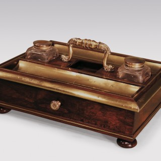 An Antique Regency period rosewood and brass Pentray