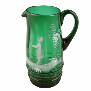 Mary Gregory Green Glass Jug