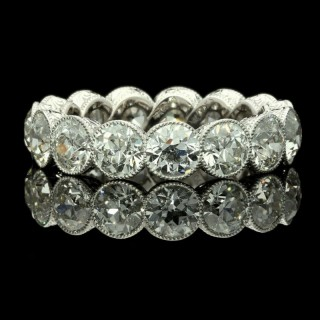 Hancocks  Platinum Diamond full Eternity Ring set with 4.90 carats   Old European cut diamonds