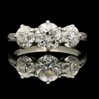 A Classic Diamond and Platinum Three Stone Ring by Hancocks