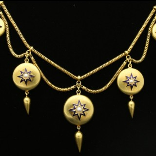 Antique pearl and enamel necklace, circa 1865.