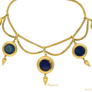Antique pearl and enamel necklace, circa 1865.