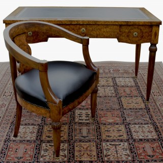 Antique French Burr Walnut Writing Table with Chair