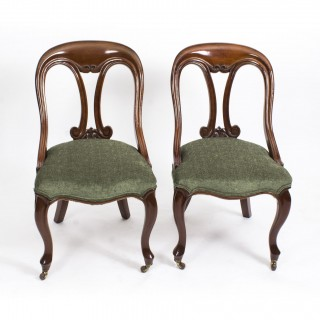 Antique Pair Victorian Mahogany Fiddle Back Side Chairs c.1850