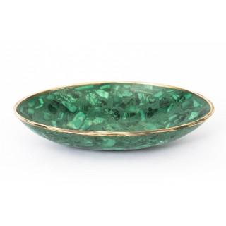 Antique Malachite & Ormolu Mounted Oval Trinket Dish C1900