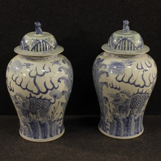 20th Century Pair Of Chinese Vases In Painted Ceramic
