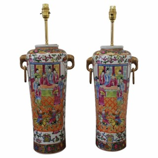 Pair of Tall Cantonese Lamps