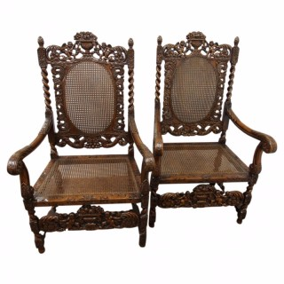 Pair of Charles II Style Walnut Chairs