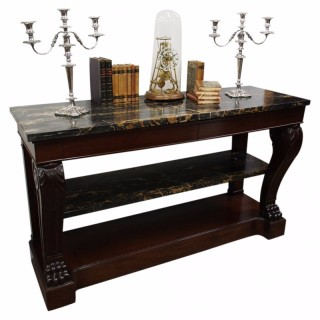 French Mahogany and Marble Console Table
