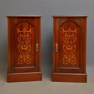 Edwardian Mahogany Bedside Cabinets by Maple & Co