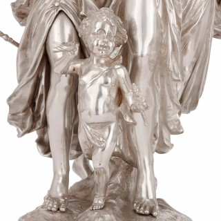 19th Century antique silvered bronze Neoclassical figures by J-L Gregoire