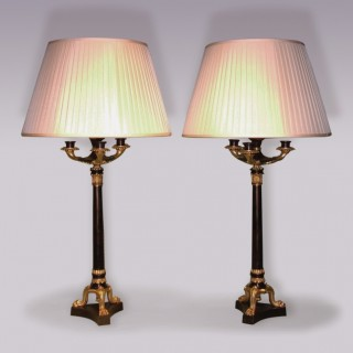 Pair of 19th Century bronze and ormolu Candlestick Lamps.