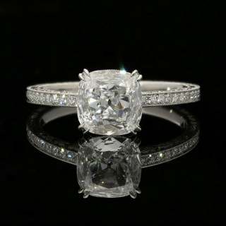 Hancocks  Classic 1.02 carat  Cushion Cut Diamond Solitaire ring with hand engraved Diamond-set Platinum mount