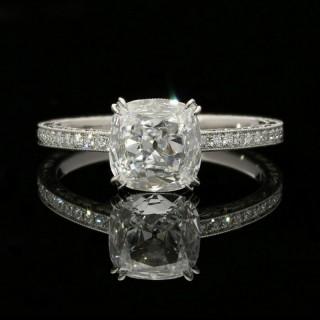 Hancocks  Classic 1.02 carat  Cushion Cut Diamond Solitaire ring with hand engraved Diamond-set Platinum mount