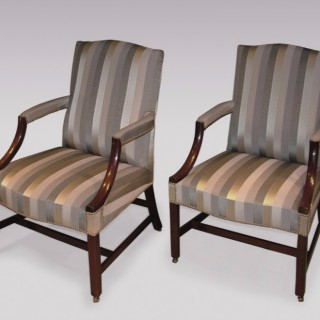 A pair of mid 18th Century George III period mahogany Library Gainsborough Armchairs.