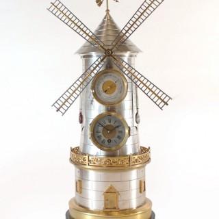 Automaton windmill clock by Guilmet