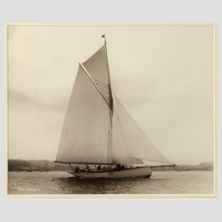 Yacht Wayward, early silver gelatin photographic print by Beken of Cowes.