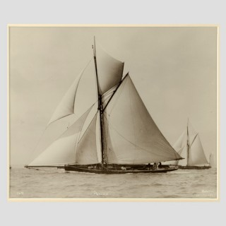 Yacht Psyche, early silver gelatin photographic print by Beken of Cowes.