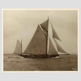 Yacht Coral, early silver gelatin photographic print by Beken of Cowes.