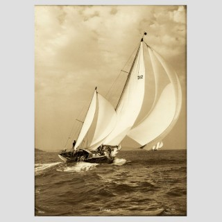 Yacht Figaro, early silver photographic print by Beken of Cowes.