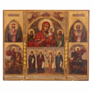 19th Century painted Russian Icon on wooden panel