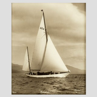 Yacht Mariella, early silver gelatin photographic print by Beken of Cowes.