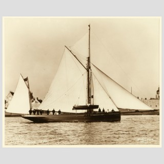 Yacht Latona, early silver gelatin photographic print by Beken of Cowes