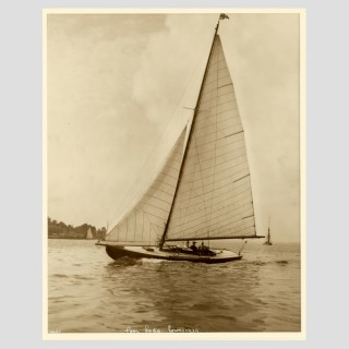 Yacht Poor Lady, early silver photographic print by Beken of Cowes