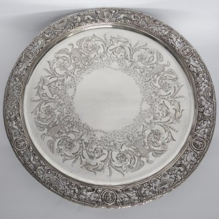 Antique Silver Salver with Cast Border