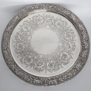 Antique Silver Salver with Cast Border