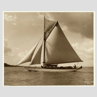 Yacht Petrola, early silver photographic print by Beken of Cowes.