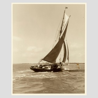 Yacht Alpha, early silver photographic print by Beken of Cowes.