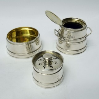 Antique Silver Novelty Condiment Set