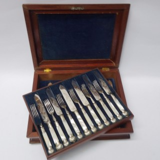 Antique Silver Plate and Mother of Pearl Cutlery for 12