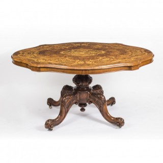 Antique Burr Walnut & Marquetry Shaped Oval Loo Table c.1860