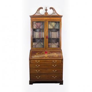 Antique English Victorian Mahogany Bureau Bookcase C1860