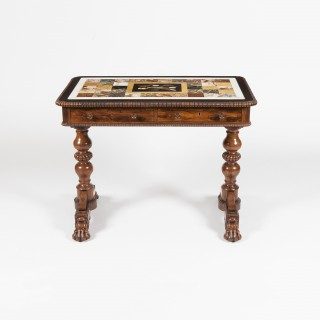Late Georgian Table with Pietra Dura Top in the Manner of Gillows
