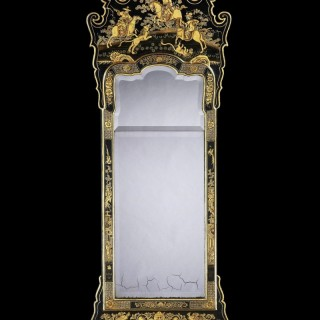 A George II Green Japanned Pier Mirror Attributed to Giles Grendey