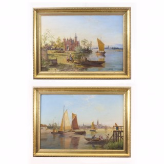 Antique Pair Waterscape Oil Paintings by William Dommersen C1880