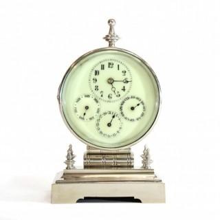 Silver plated Desk Calendar Timepiece