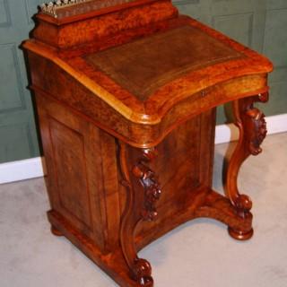 Victorian Burr Walnut Davenport