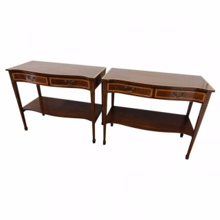 Pair of George III Style Inlaid Mahogany Side Tables