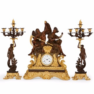 Large gilt and patinated bronze three piece clock set