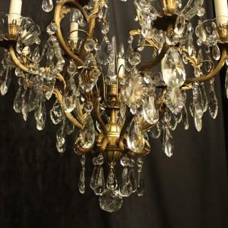 French Gilded Bronze 10 Light Antique Chandelier