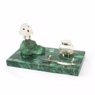 Antique Malachite & Crystal Owl Rectangular Ink Desk Set C. 1920