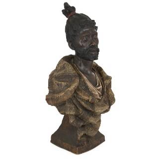 Pair of antique terracotta busts by Friedrich Goldscheider in orientalist style