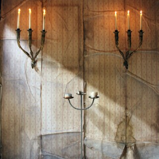 A Fine Pair of 18thC Italian Gilded Iron Wall Sconce Candelabra c.1770-90; Formerly of The Estate of Sir Christopher Lee